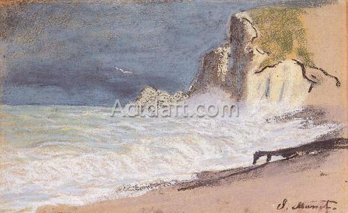 Etretat - Amont Cliff Rough Weather 1884-1886