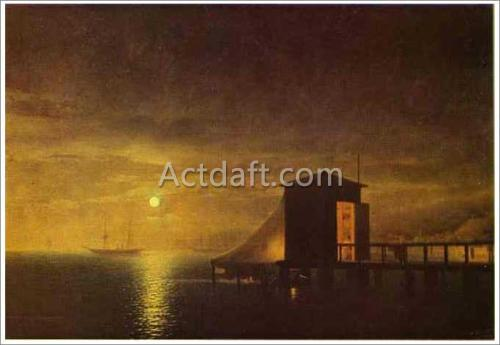 アイヴァゾフスキー【Moonlit Night. A Bathing Hut in Feodosia】